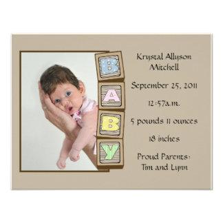 Le bébé bloque la naissance - Brown Carton D'invitation