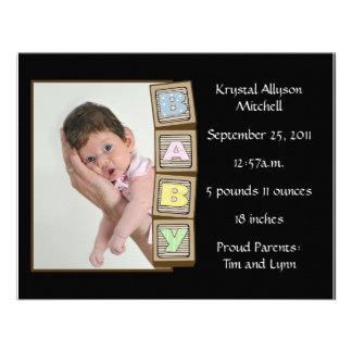 Le bébé bloque la naissance - noir invitations