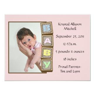 Le bébé bloque la naissance - rose carton d'invitation 10,79 cm x 13,97 cm