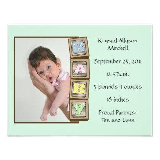 Le bébé bloque la naissance - vert cartons d'invitation
