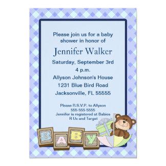 Le bébé bloque le baby shower - bleu carton d'invitation  12,7 cm x 17,78 cm