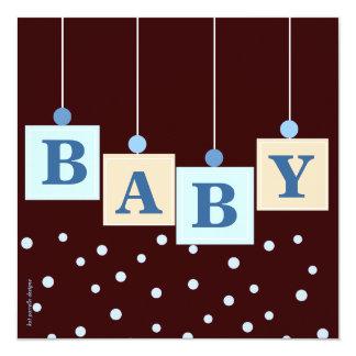 Le BÉBÉ bloque le baby shower de garçon bleu Carton D'invitation 13,33 Cm