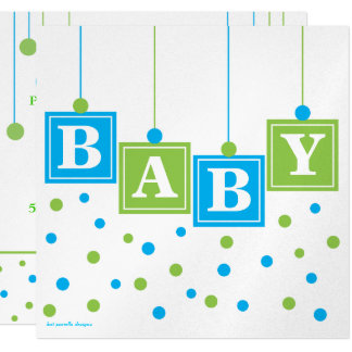 Le BÉBÉ bloque le baby shower de garçon de vert Carton D'invitation 13,33 Cm