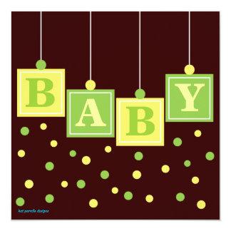 Le BÉBÉ bloque le baby shower de neutre de vert Carton D'invitation 13,33 Cm