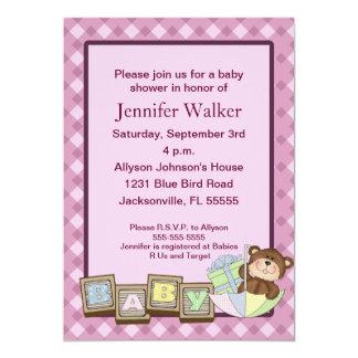 Le bébé bloque le baby shower - rose carton d'invitation  12,7 cm x 17,78 cm