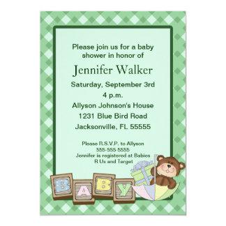 Le bébé bloque le baby shower - vert carton d'invitation  12,7 cm x 17,78 cm