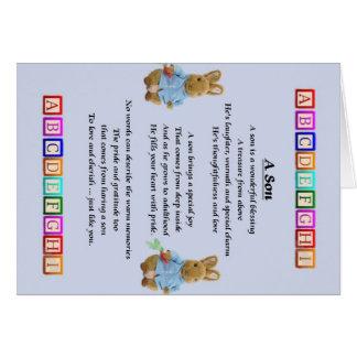 Le bébé bloque le poème de fils carte de vœux
