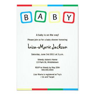 Le bébé bloque l'invitation de baby shower - carton d'invitation  12,7 cm x 17,78 cm