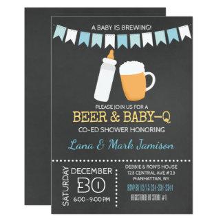 Le bébé de BBQ de Bébé-q brasse l'invitation de Carton D'invitation 12,7 Cm X 17,78 Cm