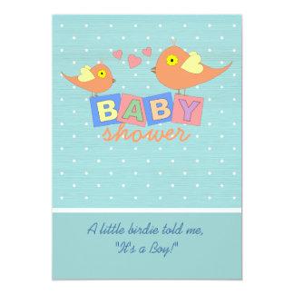 Le bébé de birdie bloque l'invitation de baby carton d'invitation  12,7 cm x 17,78 cm