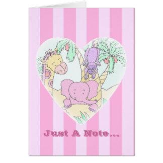 Le bébé de jungle Coeur-Vous remercient Carte De Vœux