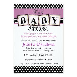 Le bébé d'impression de zèbre bloque l'invitation carton d'invitation  12,7 cm x 17,78 cm