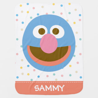 Le bébé grand Face  de Grover ajoutent votre nom Couverture Pour Bébé