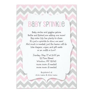 Le bébé gris rose invitation de baby shower