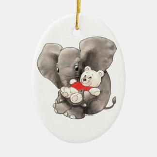 Le bébé huent avec l'ours ornement ovale en céramique