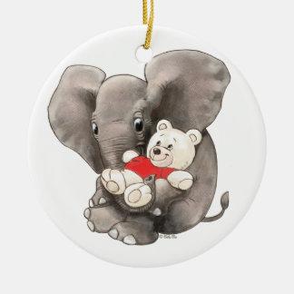 Le bébé huent avec l'ours ornement rond en céramique