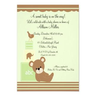 Le bébé mignon d'ours bloque le baby shower neutre carton d'invitation  12,7 cm x 17,78 cm