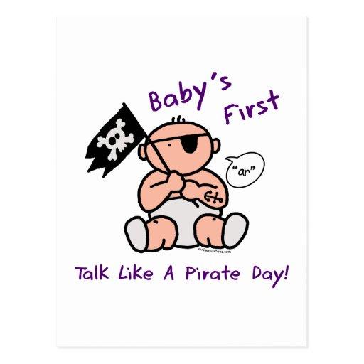 Le bébé parlent d'abord comme un jour de pirate carte postale