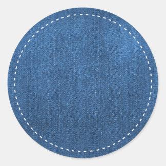 Le blanc bleu de tissu de denim pique l'arrière - sticker rond