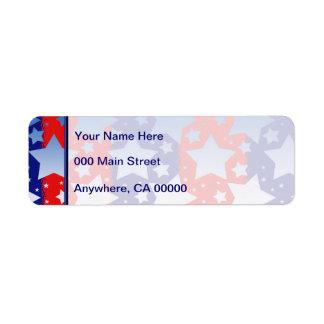 Le blanc bleu tient le premier rôle les rayures étiquette d'adresse retour
