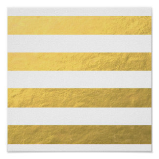 Le blanc élégant barre la feuille d'or imprimée posters
