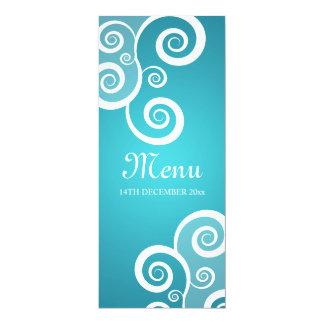 Le blanc élégant de menu de mariage tourbillonne carton d'invitation  10,16 cm x 23,49 cm