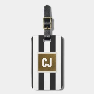 Le blanc gris élégant barre le monogramme de étiquette à bagage