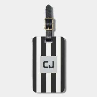 Le blanc gris élégant barre le monogramme étiquettes bagages
