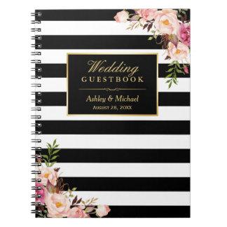 Le blanc noir barre le Guestbook floral de mariage Carnets À Spirale