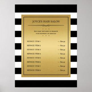 Le blanc noir barre le menu classique de service posters