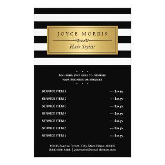 Le blanc noir classique barre le menu de service prospectus 14 cm x 21,6 cm