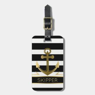 Le blanc noir moderne barre l'ancre nautique d'or étiquette à bagage