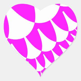 Le blanc rose mesure des autocollants de coeur