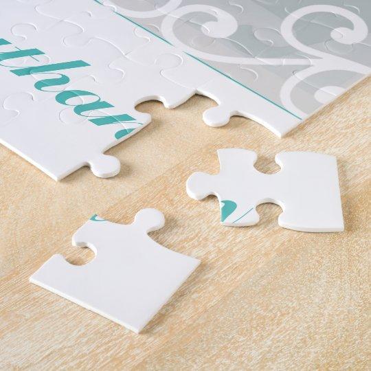Le blanc tourbillonne, photo turquoise de mariage puzzle