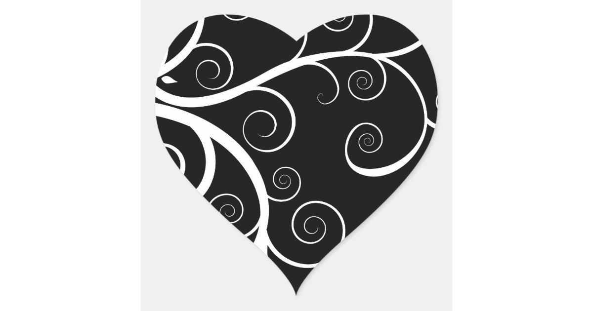 Le blanc tourbillonne sur le dessin noir sticker c ur zazzle for Dessin graphique noir et blanc