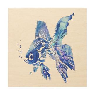 Le bleu bleu d'aquarium d'animal familier de impression sur bois
