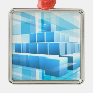 Le bleu bloque l'arrière - plan d'affaires ornement carré argenté
