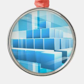 Le bleu bloque l'arrière - plan d'affaires ornement rond argenté