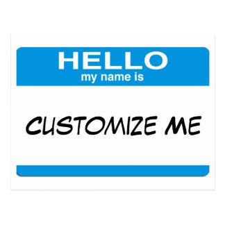 Le bleu bonjour mon nom est… personnalisable cartes postales