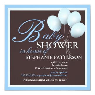 Le bleu élégant de baby shower monte en ballon carton d'invitation  13,33 cm