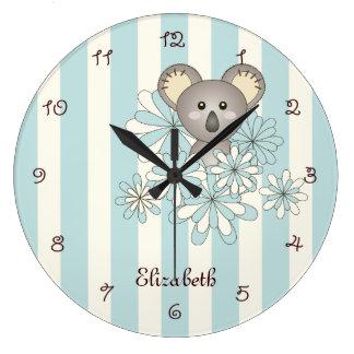 Le bleu en pastel de koala animal mignon de bébé grande horloge ronde