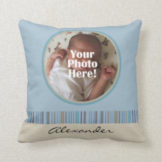 Le bleu et la photo faite sur commande de bébé de  oreillers