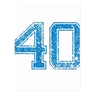 Le bleu folâtre Jerzee le numéro 40 Carte Postale