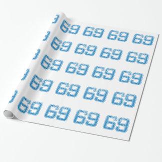 Le bleu folâtre Jerzee le numéro 69 Papier Cadeau Noël