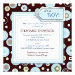 Le bleu heureux pointille l'invitation de baby sho