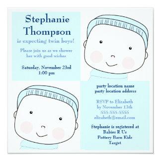 Le bleu jumeau de garçon bloque l'invitation de carton d'invitation  13,33 cm