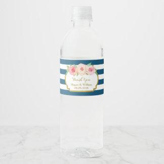 Le bleu marine barre l'étiquette floral de étiquette pour bouteilles d'eau