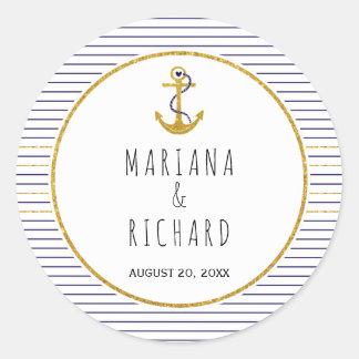 Le bleu marine d'ancre et d'or barre le mariage sticker rond