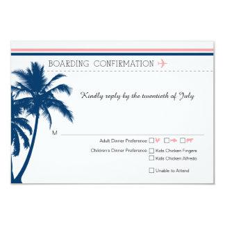Le bleu marine de carte d'embarquement de RSVP et Carton D'invitation 8,89 Cm X 12,70 Cm