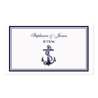 Le bleu marine nautique d'ancre a encadré 2 cartes carte de visite standard